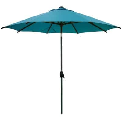 9 ft. Market Outdoor Patio Umbrella Aluminum Pole with Auto Tilt and Crank, 8 Ribs in Turquoise