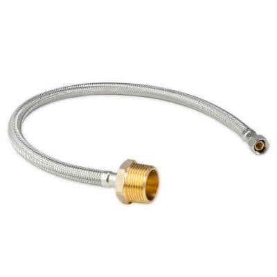 3/8 in. Female NPT X 1 in. Male NPT 24 in. Braided Stainless Steel Hose Connector