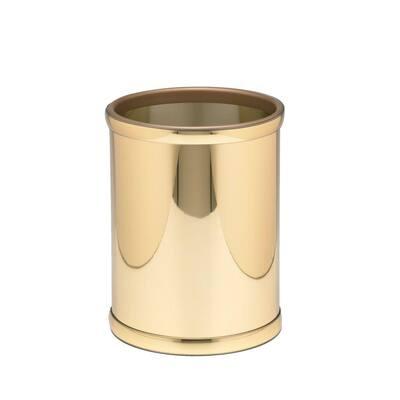 Mylar 8 Qt. Polished Brass Round Waste Basket