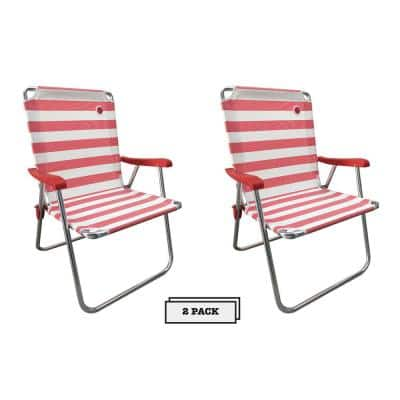 New Classic Folding Camp/Lawn Chair in Red/White (2-Pack)