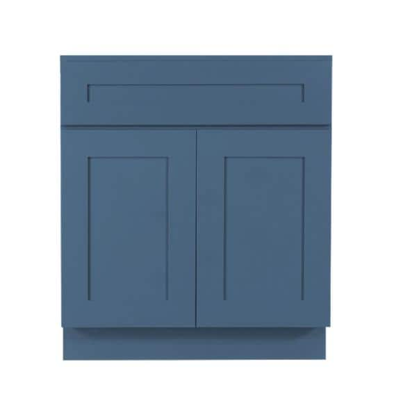 Lifeart Cabinetry Lancaster Medium Blue Plywood Shaker Stock Assembled Sink Base Kitchen Cabinet With Soft Close Doors 24 In W X D Alb Sb24 The Home Depot
