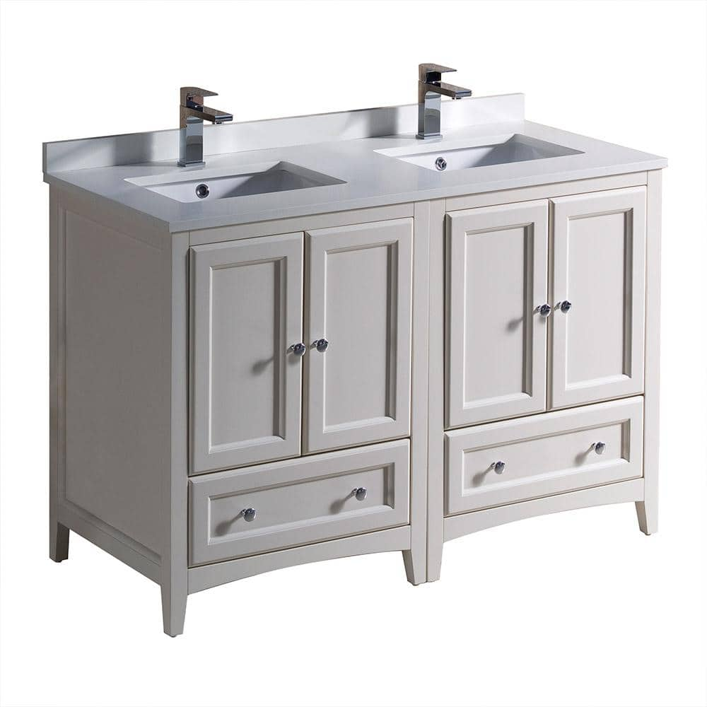 Fresca Oxford 48 In Double Vanity In Antique White With Quartz Stone Vanity Top In White With White Basins Fcb20 2424aw Cwh U The Home Depot