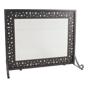 Glactica Black Steel 1-Panel Fireplace Screen