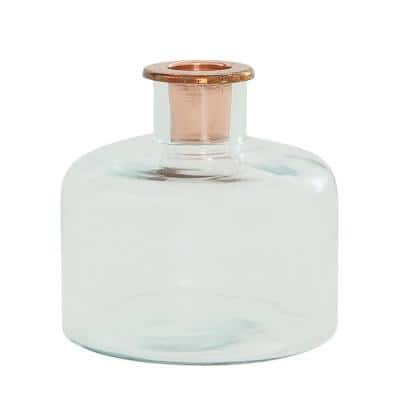 Clear Glass Candle Holder with Copper Insert