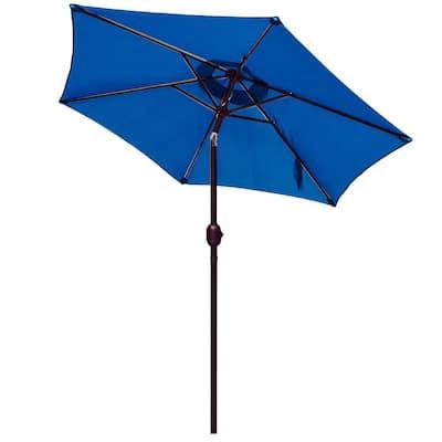 7.5 ft. Market Push Button Tilt and Crank Patio Umbrella Table in Dark blue