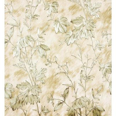 Portofino Beige Cow Leaves Beige Wallpaper Sample