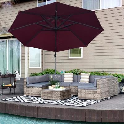 Outsunny Grey 7-pc Steel Plastic Rattan Patio Conversation Set w/Grey Cushions, 4 Chairs, 2 Corners Chairs, and Center Table