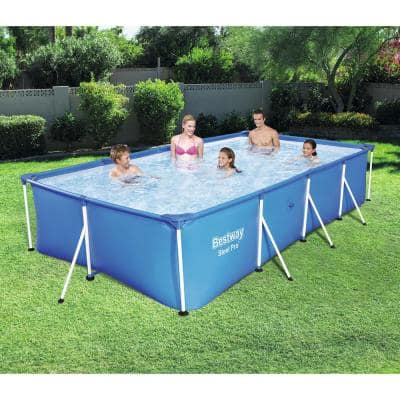 157 in. x 83 in. x 32 in. Rectangular Metal Frame Above Ground Swimming Pool