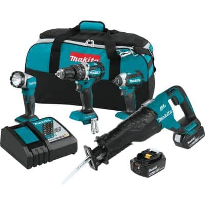 18-Volt 4-Piece 5.0Ah LXT Lithium-Ion Brushless Cordless Combo Kit Hammer Drill/ Impact Driver/ Recipro Saw/ Flashlight