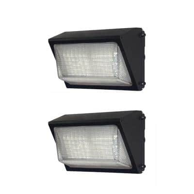 450-Watt Equivalent Integrated Outdoor LED Wall Pack, 6800 Lumens, Dusk to Dawn Outdoor Security Light (2-Pack)