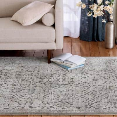 Skyline Gray 5 ft. x 7 ft.Floral Area Rug