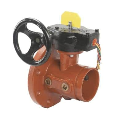6 in. Dia x 20 in. L Ductile Iron Butterfly Valve with Grooved by Grooved End Connections