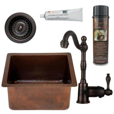 Bronze 14 Gauge Copper 16 in. Dual Mount Rectangular Bar Sink with Faucet and Strainer Drain