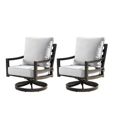 Modern Antique Copper Swivel Rocking Aluminum Outdoor Lounge Chair with Gray Cushions (2-Pack)