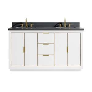 Austen 61 in. W x 22 in. D Bath Vanity in White with Gold Trim with Quartz Vanity Top in Gray with White Basins