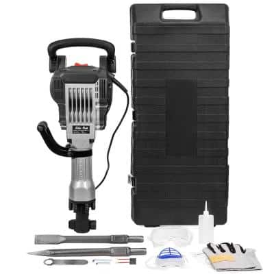 36.6 in. x 16.5 in. Electric Jack Hammer Demolition Power Tool, 2 Chisels, Case with Plastic Handle