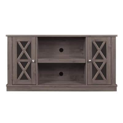 Bayport 48 in. Spanish Gray Wood TV Stand Fits TVs Up to 55 in. with Adjustable Shelves