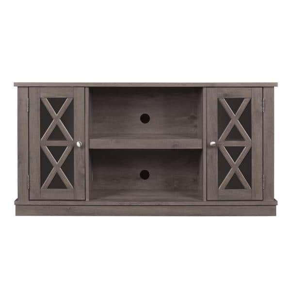 Bell O Bayport 48 In Spanish Gray Wood Tv Stand Fits Tvs Up To 55 In With Adjustable Shelves Tc48 6092 Pi14 The Home Depot