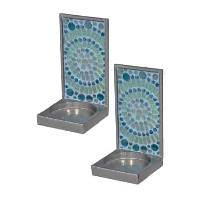 6 in. Peacock Lane Mosaic Art Glass Candle Holder