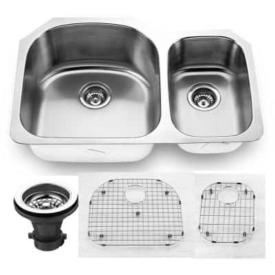 Oceanus Undermount 16-Gauge Stainless Steel 31.5 in. 65/35 Double Bowl Kitchen Sink with Grid and strainer