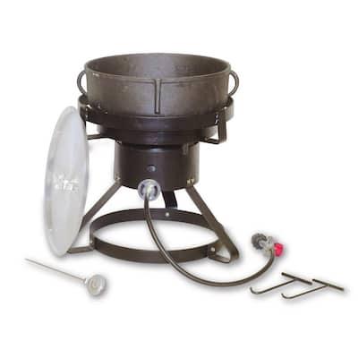 60000 BTU 19 in. Outdoor Grill and Smoker with 5 Gal. Cast Iron Jambalaya Pot and Aluminum Lid