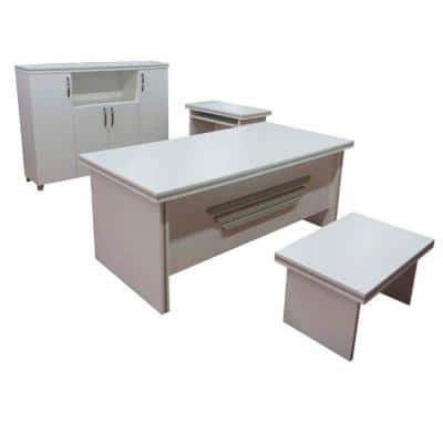 Modern New Star 71 in. White Wood Desk Office Suite Furniture (Set of 4)