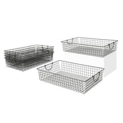 Stowaway 24.5 in. D x 16 in. W x 5.25 in. H Large Industrial Gray Steel Under Bed Wire Storage Bin Basket (6-Pack)