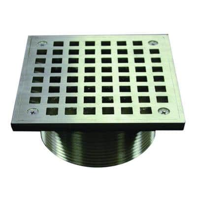 5 in. Square Brass Strainer with 3.5 in. IPS Metal Spud in Nickel Bronze