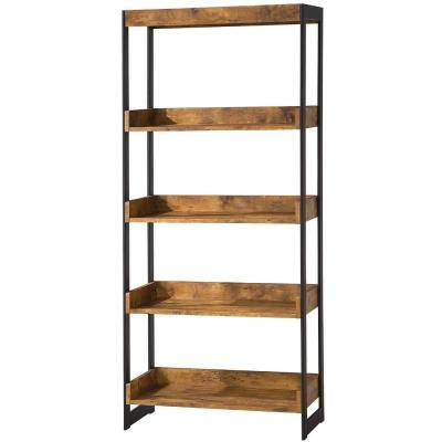 59.75 in. Antique Wood 4-shelf Standard Bookcase with Open Back