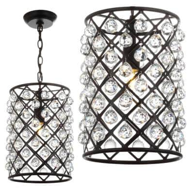 Gabrielle 15 in. 1 -Light Oil Rubbed Bronze Crystal/Metal LED Pendant