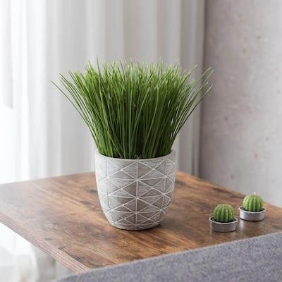 Indoor Tabletop Artificial Grass in Geo Cement Pot