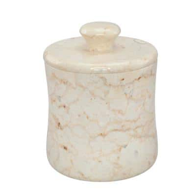 Natural Champagne Marble Fenway Collection Cotton Ball Swab Holder Countertop Storage Jar Container Organizer in Beige