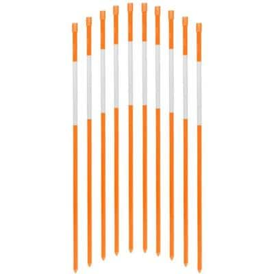 60 in. Driveway Markers Fiberglass Poles 5/16 in. Dia Solid Snow Poles Stakes with Reflective Tape, Orange (50-Pack)