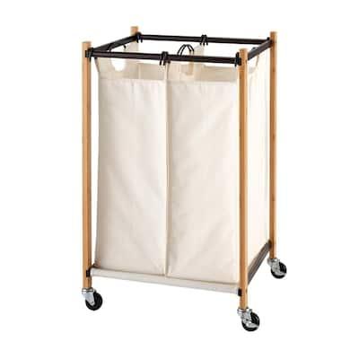 Basics Bronze 2-Bag Bamboo Laundry Cart With Wheels