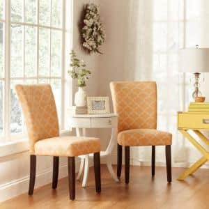 Espresso Banana Yellow Pattern Fabric Parson Chair (Set of 2)