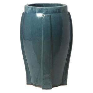 28 in. H Fret Lake Teal Round Ceramic Planter
