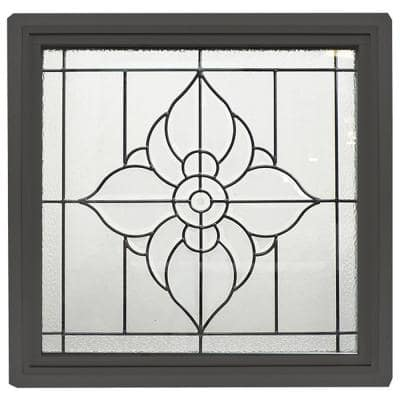 23.5 in. x 23.5 in. Bronze Frame Spring Flower Black Caming 1 in. Nail Fin Offset Vinyl Picture Window