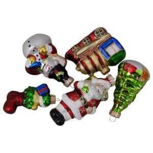 1 in. to 3.5 in. 5ct Festive Holiday Santa and Snowman Figurine Glass Ornament Set