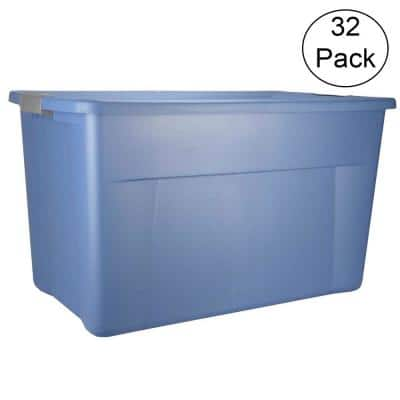 35 Gal. Storage Blue Tote Box with Latching Lid (32 Pack)