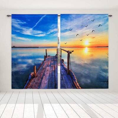 """Blackout Curtains 52""""x84"""" Dusk Wooden Bridge 3D Print Window Drape 2 Panels"""