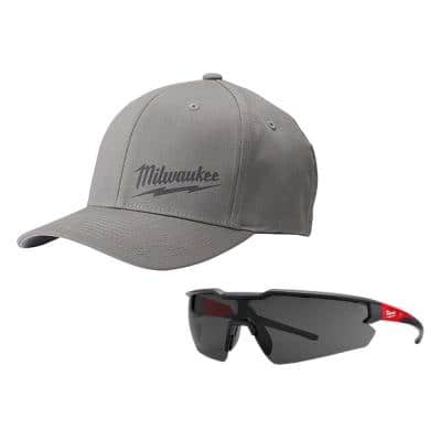Small/Medium Gray Fitted Hat and Safety Glasses with Tinted Anti-Scratch Lenses