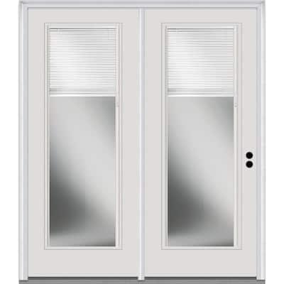 TRUfit 71.5 in. x 79.5 in. Left-Hand Inswing Internal Blinds Dual Pane Clear Primed Steel Double Prehung Patio Door