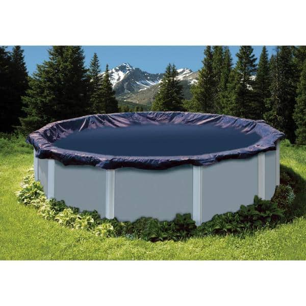 Swimline 24 Ft Round Blue Above Ground Swimming Pool Winter Cover Pco827 The Home Depot