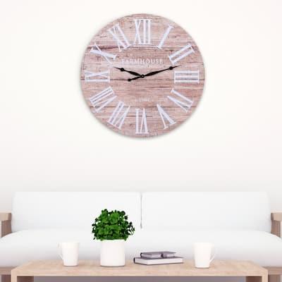 Rustic Brown Wood Plank Wall Clock
