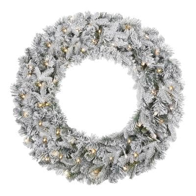 30 in Starry Light Flocked Pre-Lit Artificial Christmas Wreath