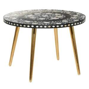 Round Black Wood Top Coffee Table with Shell Floral Patterned Mosaic Inlay and Gold Metal Base 30 in. x 21 in.