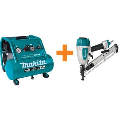 Quiet Series 2 Gal. 1 HP Oil-Free Electric Air Compressor with bonus Pneumatic 15-Gauge, 2-1/2 in. Angled Finish Nailer