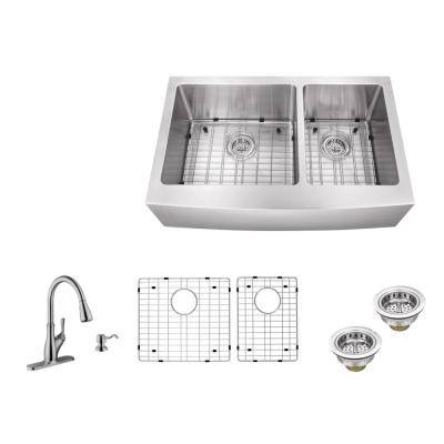 All-in-One Farmhouse Apron Front 16-Gauge Stainless Steel 36 in. 60/40 Double Bowl Kitchen Sink with Pull Out Faucet