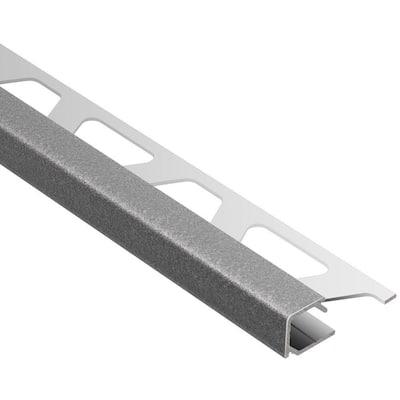 Quadec Pewter Textured Color-Coated Aluminum 3/8 in. x 8 ft. 2-1/2 in. Metal Square Edge Tile Edging Trim