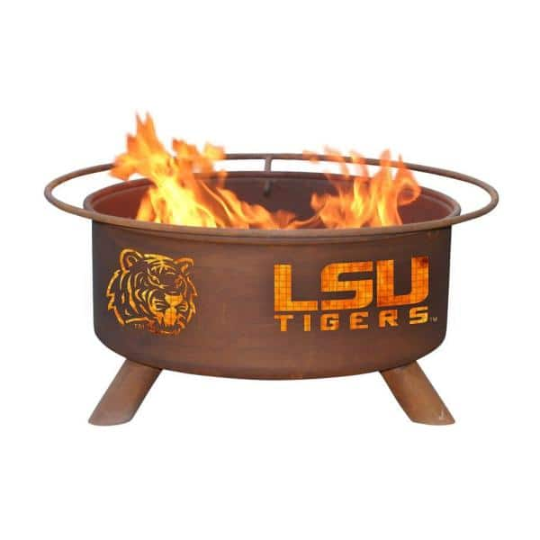 Lsu 29 In X 18 In Round Steel Wood Burning Fire Pit In Rust With Grill Poker Spark Screen And Cover F221 The Home Depot